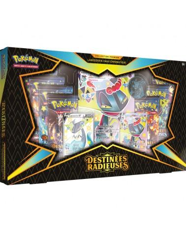 Le Coffret Premium Lansorien Vmax contenant des cartes de la série Destinées Radieuses est sur Cardstoys
