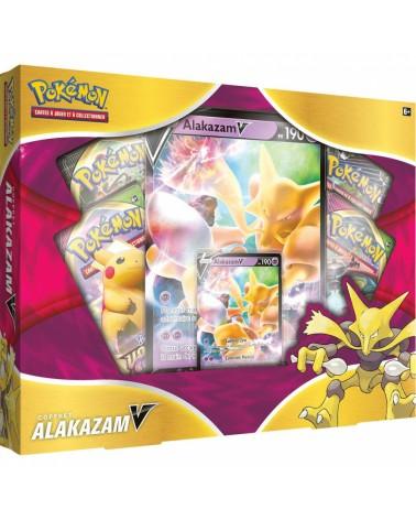 Coffret Pokémon Alakazam V ,il contient plusieurs boosters de carte pokémon ainsi qu'une carte promotionnel .