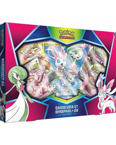Coffret pokémon gardevoir et Nymphalie Gx contenant plusieurs boosters du Bloc Soleil et lune, et épée et bouclier.