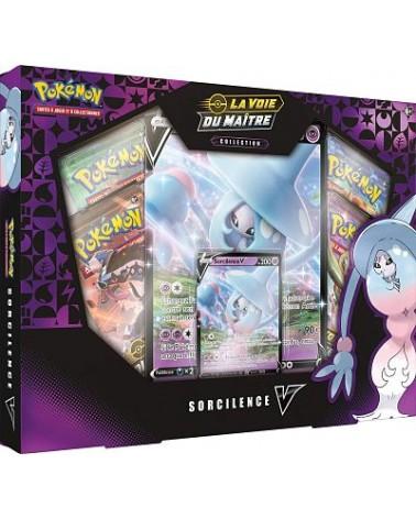 Coffret de cartes pokémon Sorcilence V . il contient des boosters de cartes la voie du maître